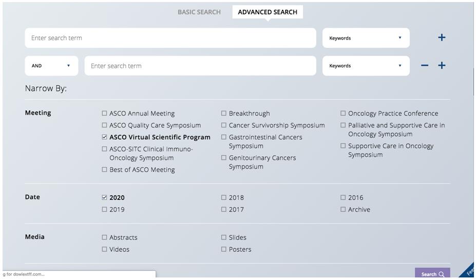 2020年ASCO线上摘要查询方式